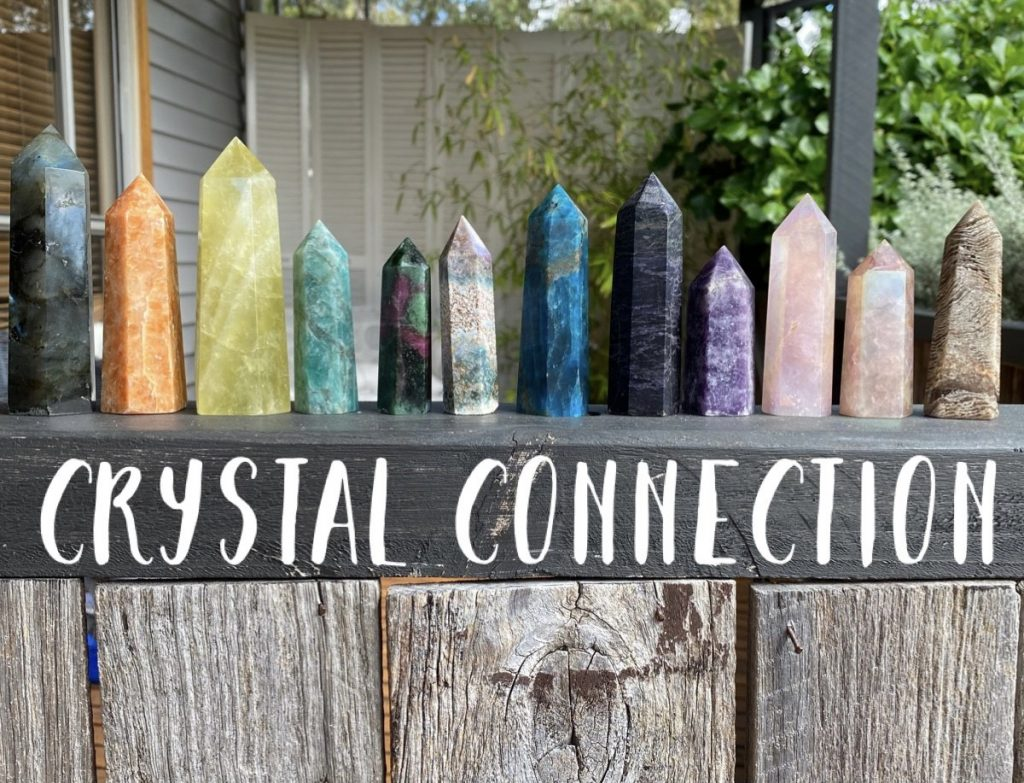 crystal gemstone points in nature